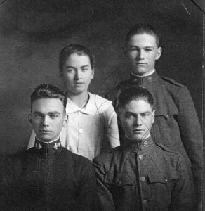 The Vaughan family. Back row: Florence (13), Clarence (17). Front row: Dan (20), Ed (19).