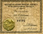 A membership certificate from the Michigan State Dental Society-1932