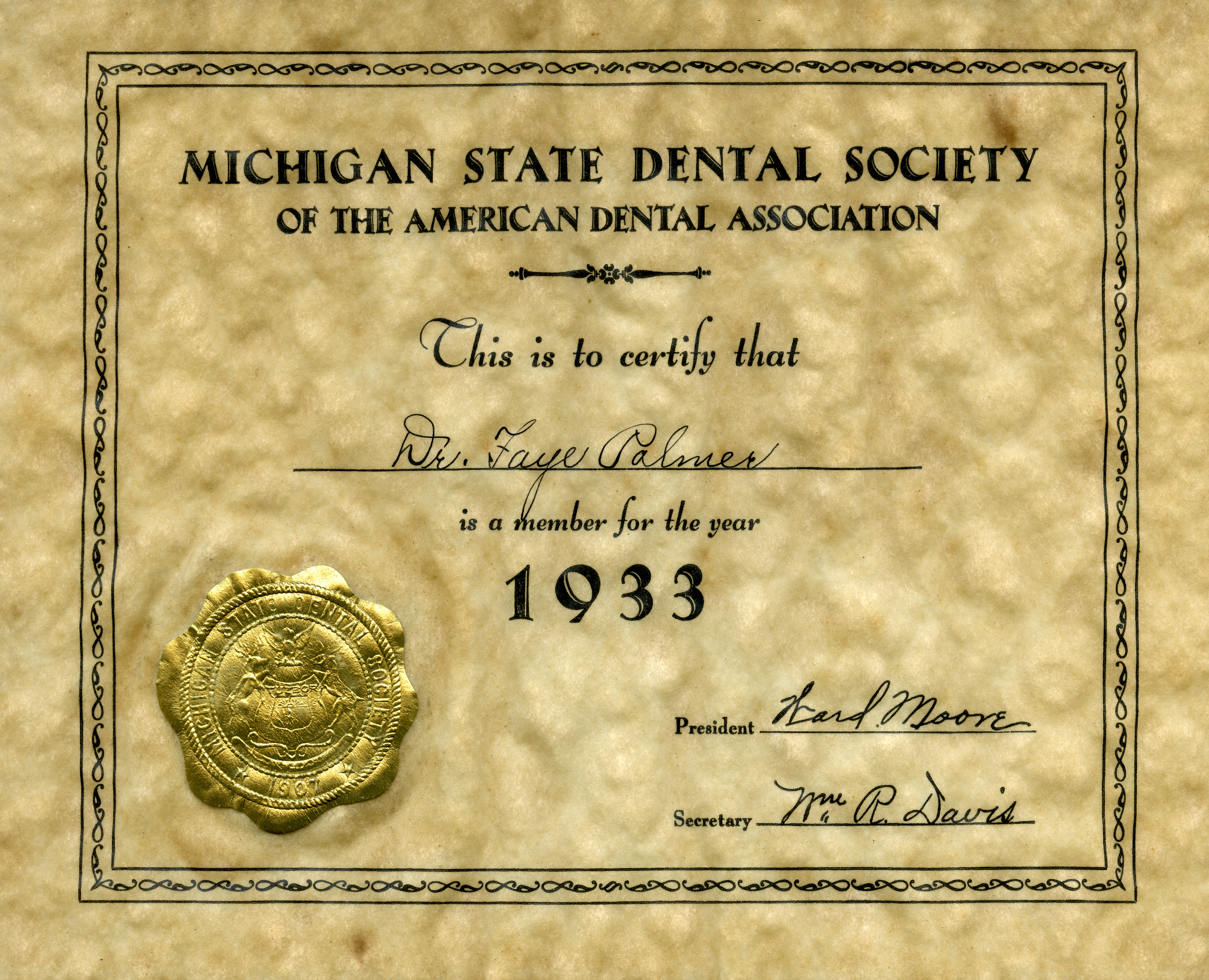 A membership certificate from the Michigan State Dental Society-1933