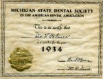 A membership certificate from the Michigan State Dental Society-1934