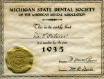 A membership certificate from the Michigan State Dental Society-1935
