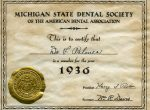 A membership certificate from the Michigan State Dental Society-1936