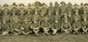 Julius Eisele (front row, center), at Camp Custer with other enlisted soldiers.