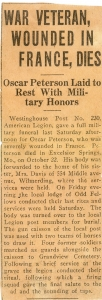 A newspaper clipping announcing the death of Oscar Peterson