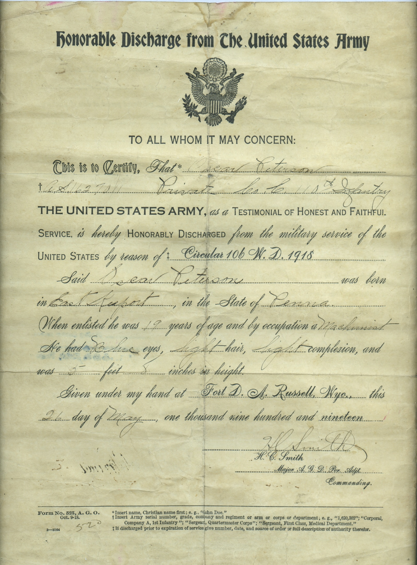 Honorable Discharge for Oscar Peterson