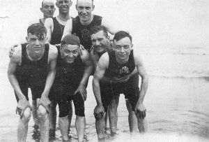 Harry Fox (far right, front) and sailors swimming at Atlantic City.