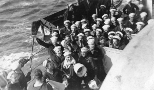 Sailors celebrating a