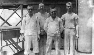 Harry Fox (far left) and fellow bakers in their fatigue uniforms.