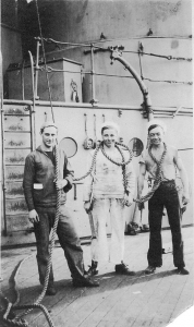 Harry Fox (far right) with fellow sailors on the USS Indiana.