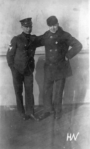 Harry Fox (left) and shipmate. Harry is dressed in the winter uniform of Chief Commissary Steward.