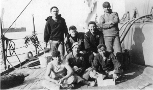 Harry Fox (front, right) and shipmates on the USS Indiana.