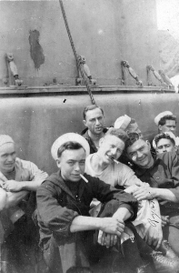 Harry Fox (left) and shipmates relaxing on deck.