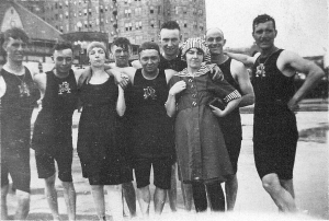 Harry Fox (2nd left) and friends swimming at Atlantic City.