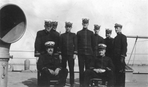 Some of the USS Indiana's officers. Most of the men pictured held the rank of Ensign, the rank just below Lieutenant.